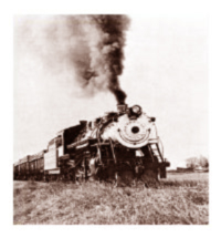 Old photograph of a Great Western Trail locomotive